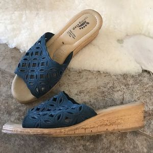 Peep Toe Wedge Sandals Blue Size 7.5